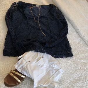 Hollister Tops - Navy color lace hollister blouse !!